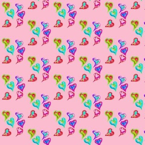 Funky Graffiti Hearts on Lolly Pink - Small Scale