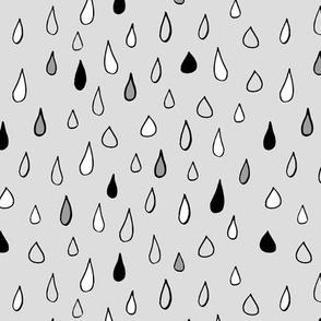 Raindrops in grey / kids room baby nursery simple design