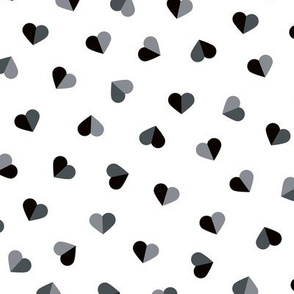 Abstract scandinavian style pastel gray hearts love print for Valentine black and white