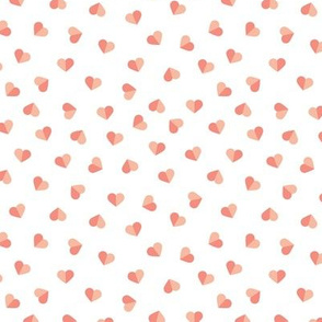 Abstract scandinavian style pastel peach pink hearts love print for Valentine small