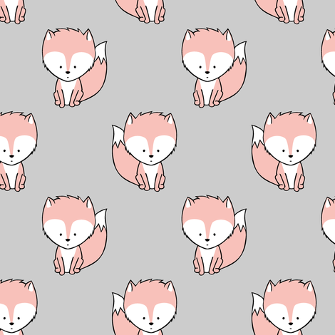 baby fox    v3 on grey fabric by littlearrowdesign on Spoonflower - custom fabric