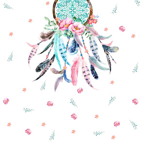 "56""x72"" Pink & Aqua Dream Catcher to fit Organic Cotton Sateen Ultra in 2 yards"