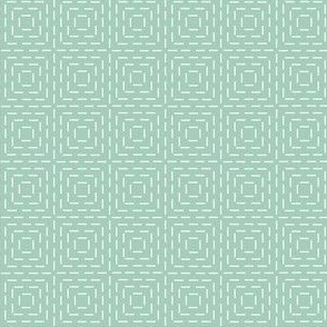 faux sashiko squares on mint green