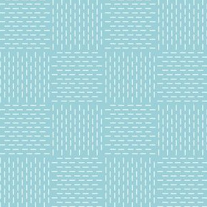 faux sashiko weave on light blue
