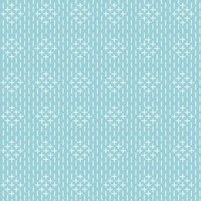 faux sashiko diamonds on light blue