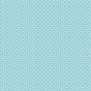 faux sashiko squares on light blue