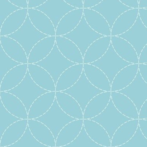 faux sashiko circles in light blue