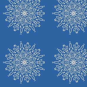 Snow flower, blue and white