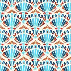 Carnival in Turquoise, Coral, Red and Blue - small version