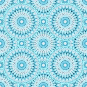 Soft Turquoise and Grey Mandala Pattern Small Version