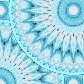 Soft Turquoise and Grey Mandala Pattern Large Version