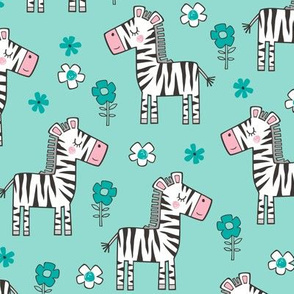 Zebra Horse With Flowers  Floral On Mint Green