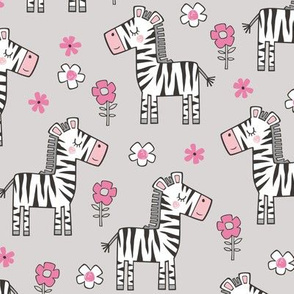Zebra Horse With Flowers  Floral On Light Grey