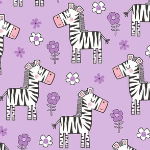 Zebra Horse With Flowers  Floral On Purple Purpel