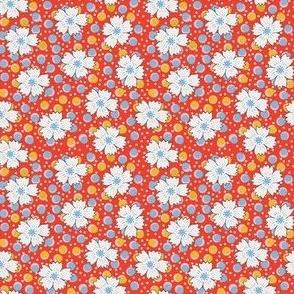 Flour sack:  white daisies on red