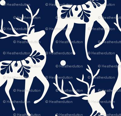Dashing Through The Snow - Christmas Deer Navy Blue