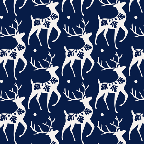 Dashing Through The Snow - Christmas Deer Navy Blue fabric by heatherdutton on Spoonflower - custom fabric