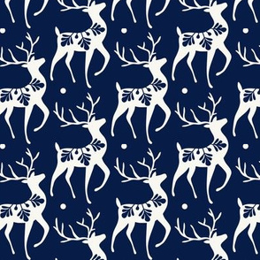 Dashing Through The Snow - Christmas Deer Navy Blue