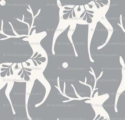 Dashing Through The Snow - Christmas Deer Grey