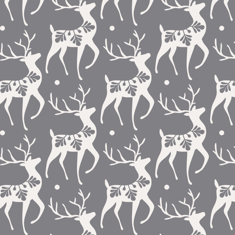 Dashing Through The Snow - Christmas Deer Grey fabric by heatherdutton on Spoonflower - custom fabric