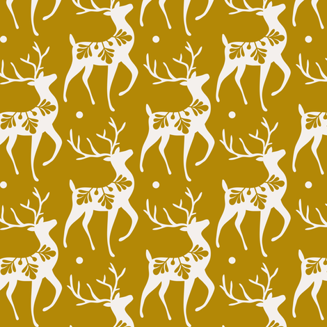 Dashing Through The Snow - Christmas Deer Yellow Gold fabric by heatherdutton on Spoonflower - custom fabric