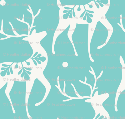 Dashing Through The Snow - Christmas Deer Aqua
