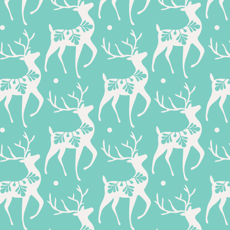 Dashing Through The Snow - Christmas Deer Aqua fabric by heatherdutton on Spoonflower - custom fabric