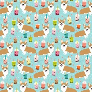 Corgi fabric boba tea kawaii light blue