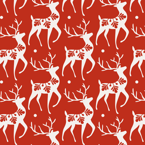 Dashing Through The Snow - Christmas Deer Red  fabric by heatherdutton on Spoonflower - custom fabric