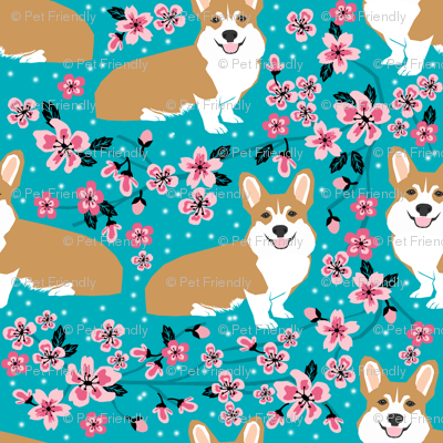 Corgi cherry blossom fabric