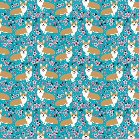 Corgi cherry blossom fabric  fabric by petfriendly on Spoonflower - custom fabric