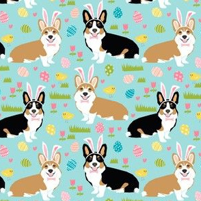 Corgi tai-colored Easter fabric mint