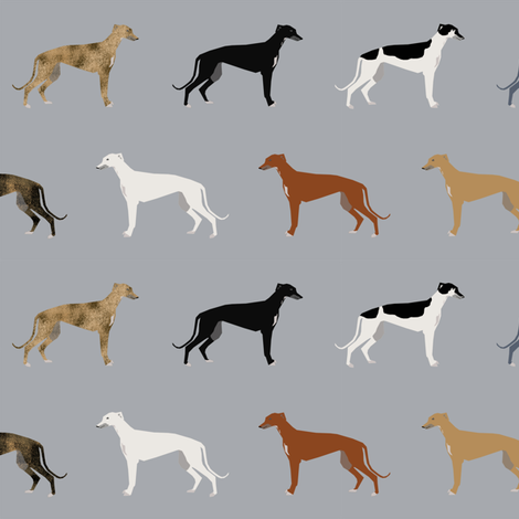 Greyhounds pattern grey multi colored coats fabric - petfriendly ...