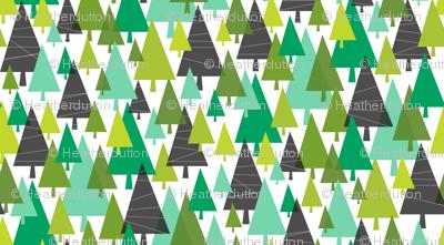 Winter Woods - Modern Christmas Trees Green