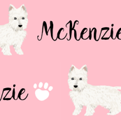 Westie custom name dog fabric west highland terriers