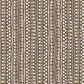 Ditsy Tribal Stripe Earth Brown