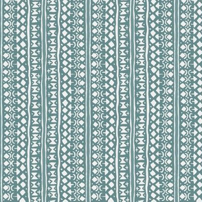 Ditsy Tribal Stripe Washed Teal on Stone
