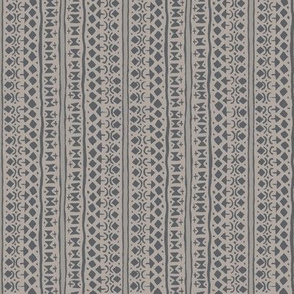 Ditsy Tribal Stripe Charcoal on Stone