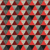 TRIANGLES GRAY/RED WHOLECLOTH