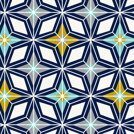 Nordic Star - Navy & Gold Midcentury Modern Geometric  fabric by heatherdutton on Spoonflower - custom fabric