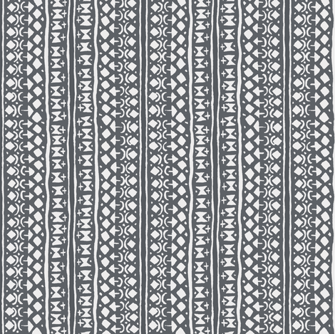 Ditsy Tribal Stripe Charcoal fabric by shi_designs on Spoonflower - custom fabric