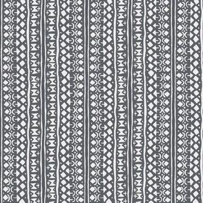 Ditsy Tribal Stripe Charcoal