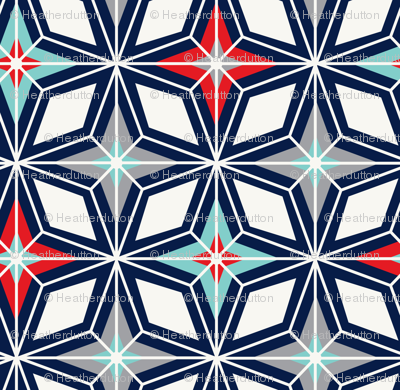 Nordic Star - Navy & Red Midcentury Modern Geometric