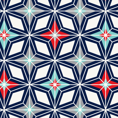 Nordic Star - Navy & Red Midcentury Modern Geometric  fabric by heatherdutton on Spoonflower - custom fabric