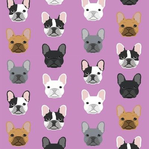 french bulldog faces purple design frenchie dog fabric