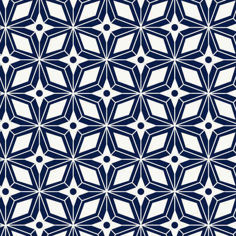 Starburst - Midcentury Modern Geometric Navy Blue fabric by heatherdutton on Spoonflower - custom fabric
