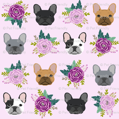 french bulldog fabric purple lavender pastel purple frenchie dogs and florals fabric