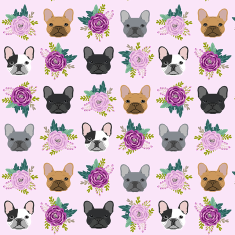 french bulldog fabric purple lavender pastel purple frenchie dogs and florals fabric fabric by petfriendly on Spoonflower - custom fabric