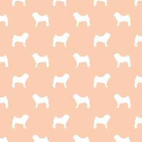 pug silhouette - dog silhouette fabric apricot