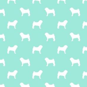 pug silhouette - dog silhouette fabric aqua